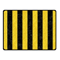 Stripes1 Black Marble & Yellow Colored Pencil Fleece Blanket (small)