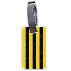 Stripes1 Black Marble & Yellow Colored Pencil Luggage Tags (two Sides)