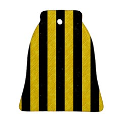 Stripes1 Black Marble & Yellow Colored Pencil Bell Ornament (two Sides)