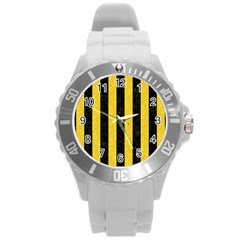 Stripes1 Black Marble & Yellow Colored Pencil Round Plastic Sport Watch (l)