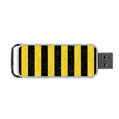 Stripes1 Black Marble & Yellow Colored Pencil Portable Usb Flash (two Sides)