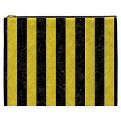 Stripes1 Black Marble & Yellow Colored Pencil Cosmetic Bag (xxxl)