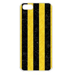 Stripes1 Black Marble & Yellow Colored Pencil Apple Iphone 5 Seamless Case (white)