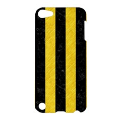 Stripes1 Black Marble & Yellow Colored Pencil Apple Ipod Touch 5 Hardshell Case