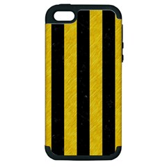 Stripes1 Black Marble & Yellow Colored Pencil Apple Iphone 5 Hardshell Case (pc+silicone)