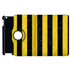 Stripes1 Black Marble & Yellow Colored Pencil Apple Ipad 3/4 Flip 360 Case
