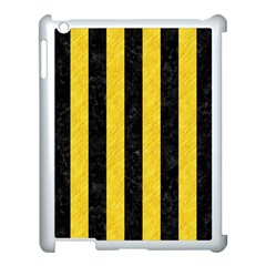 Stripes1 Black Marble & Yellow Colored Pencil Apple Ipad 3/4 Case (white)