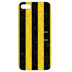 Stripes1 Black Marble & Yellow Colored Pencil Apple Iphone 5 Hardshell Case With Stand