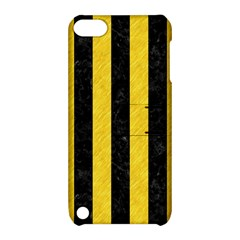 Stripes1 Black Marble & Yellow Colored Pencil Apple Ipod Touch 5 Hardshell Case With Stand