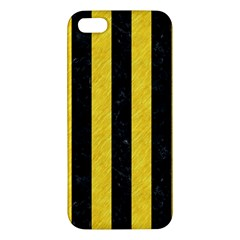 Stripes1 Black Marble & Yellow Colored Pencil Apple Iphone 5 Premium Hardshell Case