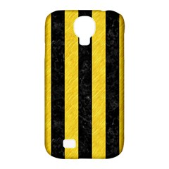 Stripes1 Black Marble & Yellow Colored Pencil Samsung Galaxy S4 Classic Hardshell Case (pc+silicone)