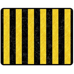 Stripes1 Black Marble & Yellow Colored Pencil Double Sided Fleece Blanket (medium)