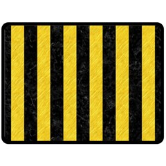 Stripes1 Black Marble & Yellow Colored Pencil Double Sided Fleece Blanket (large)