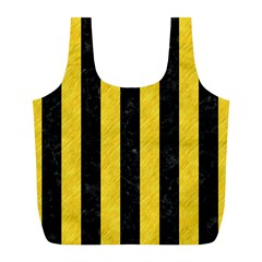 Stripes1 Black Marble & Yellow Colored Pencil Full Print Recycle Bags (l)