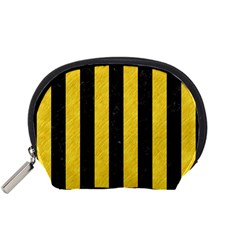 Stripes1 Black Marble & Yellow Colored Pencil Accessory Pouches (small)
