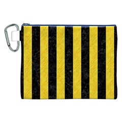 Stripes1 Black Marble & Yellow Colored Pencil Canvas Cosmetic Bag (xxl)