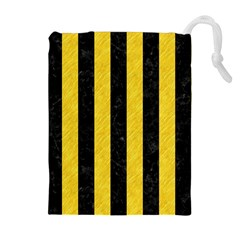 Stripes1 Black Marble & Yellow Colored Pencil Drawstring Pouches (extra Large)