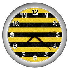 Stripes2 Black Marble & Yellow Colored Pencil Wall Clocks (silver)