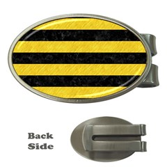 Stripes2 Black Marble & Yellow Colored Pencil Money Clips (oval)