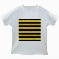 Stripes2 Black Marble & Yellow Colored Pencil Kids White T Shirts