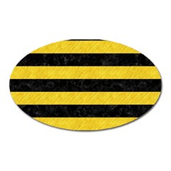 Stripes2 Black Marble & Yellow Colored Pencil Oval Magnet