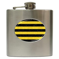 Stripes2 Black Marble & Yellow Colored Pencil Hip Flask (6 Oz)