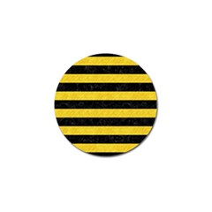 Stripes2 Black Marble & Yellow Colored Pencil Golf Ball Marker