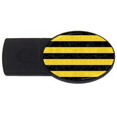 Stripes2 Black Marble & Yellow Colored Pencil Usb Flash Drive Oval (2 Gb)