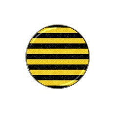 Stripes2 Black Marble & Yellow Colored Pencil Hat Clip Ball Marker