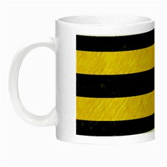 Stripes2 Black Marble & Yellow Colored Pencil Night Luminous Mugs