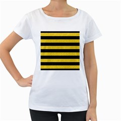 Stripes2 Black Marble & Yellow Colored Pencil Women s Loose Fit T Shirt (white)