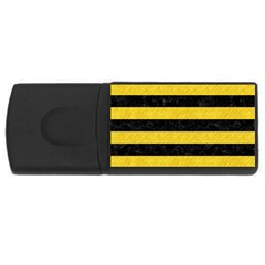 Stripes2 Black Marble & Yellow Colored Pencil Rectangular Usb Flash Drive