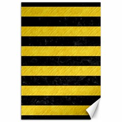 Stripes2 Black Marble & Yellow Colored Pencil Canvas 20  X 30