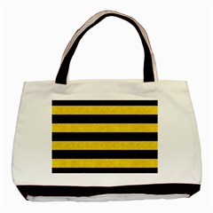 Stripes2 Black Marble & Yellow Colored Pencil Basic Tote Bag (two Sides)