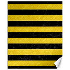 Stripes2 Black Marble & Yellow Colored Pencil Canvas 11  X 14