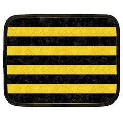 Stripes2 Black Marble & Yellow Colored Pencil Netbook Case (large)