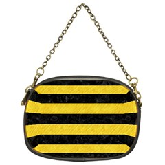 Stripes2 Black Marble & Yellow Colored Pencil Chain Purses (one Side)
