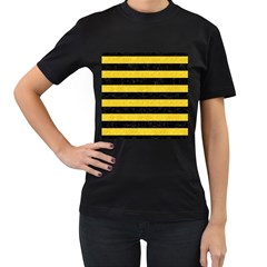 Stripes2 Black Marble & Yellow Colored Pencil Women s T Shirt (black)