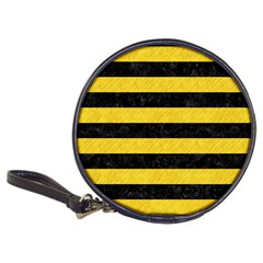 Stripes2 Black Marble & Yellow Colored Pencil Classic 20 Cd Wallets