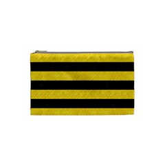 Stripes2 Black Marble & Yellow Colored Pencil Cosmetic Bag (small)