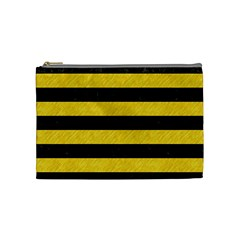 Stripes2 Black Marble & Yellow Colored Pencil Cosmetic Bag (medium)