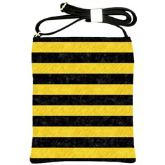 Stripes2 Black Marble & Yellow Colored Pencil Shoulder Sling Bags