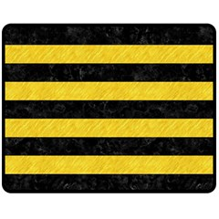 Stripes2 Black Marble & Yellow Colored Pencil Fleece Blanket (medium)