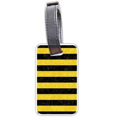 Stripes2 Black Marble & Yellow Colored Pencil Luggage Tags (one Side)