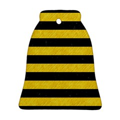 Stripes2 Black Marble & Yellow Colored Pencil Bell Ornament (two Sides)