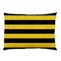 Stripes2 Black Marble & Yellow Colored Pencil Pillow Case (two Sides)