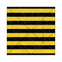 Stripes2 Black Marble & Yellow Colored Pencil Acrylic Tangram Puzzle (6  X 6 )
