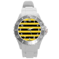 Stripes2 Black Marble & Yellow Colored Pencil Round Plastic Sport Watch (l)