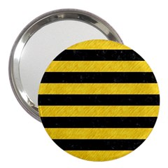 Stripes2 Black Marble & Yellow Colored Pencil 3  Handbag Mirrors