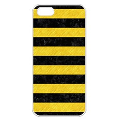 Stripes2 Black Marble & Yellow Colored Pencil Apple Iphone 5 Seamless Case (white)